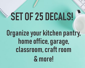 Home Organization Decals, set of 25 vinyl decals, command center, laundry room, kitchen pantry, organize house, home office, classroom