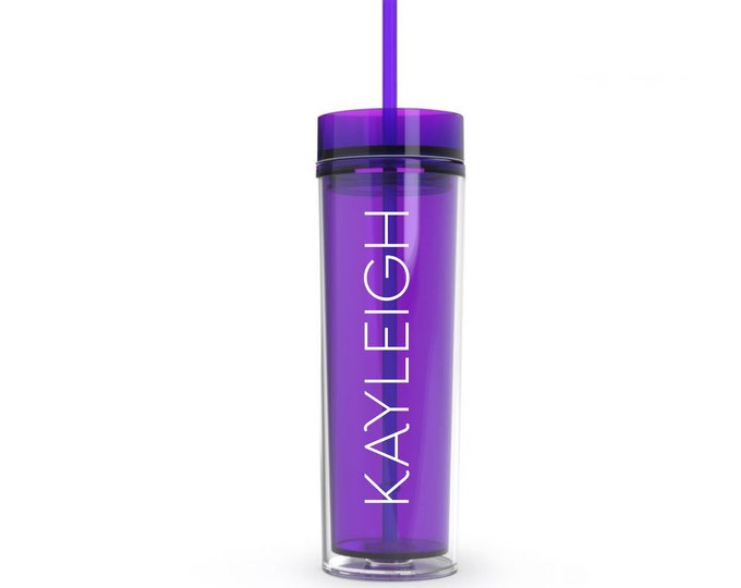 Purple Acrylic Plastic Skinny Tumbler with matching straw, 16 ounce water bottle, personalized drinkware for bridesmaids, CUP INCLUDED