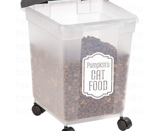 Cat Food Container Decal, Personalized Sticker for Cat Food Canister, Cat Lover Home Decor, free shipping