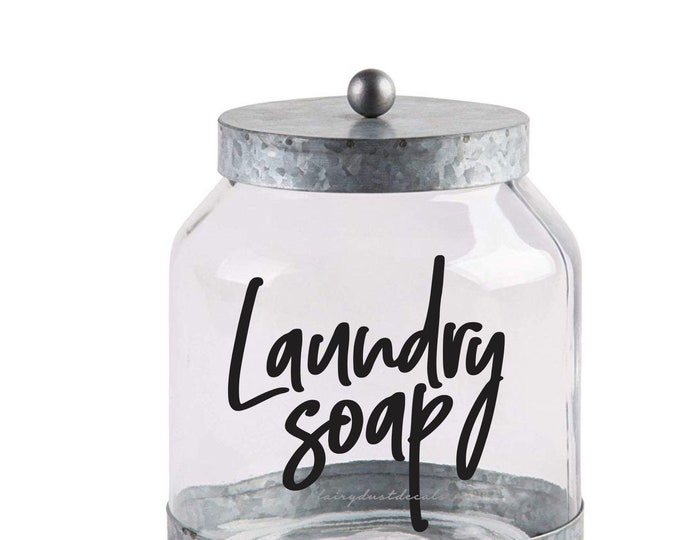 Laundry Soap Decal, Laundry Detergent Canister Sticker, Laundry Room Decor, farmhouse laundry decor, handwritten style letter, new design