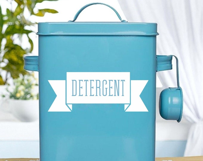 Laundry Detergent Decal, Soap Container Sticker, Laundry Room Home Decor, Farmhouse Laundry, Vinyl Decal Ribbon Design