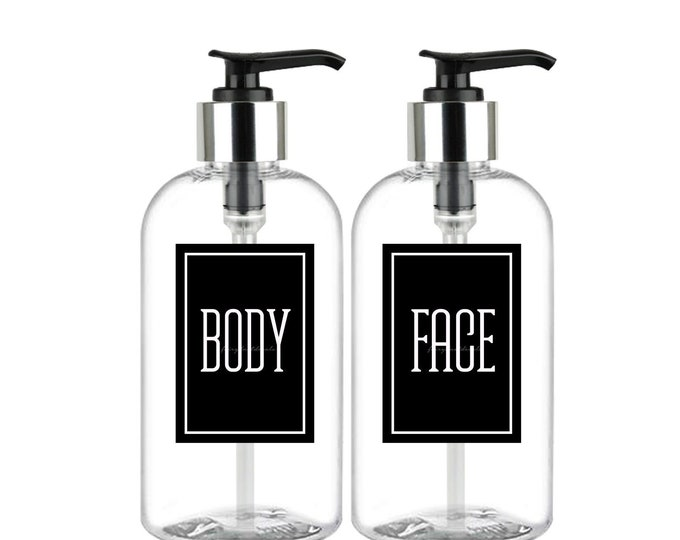 Body and Face Bottle Labels, Body Decal, Face Decal, plastic dispenser soap bottle decals, bath and beauty product labels
