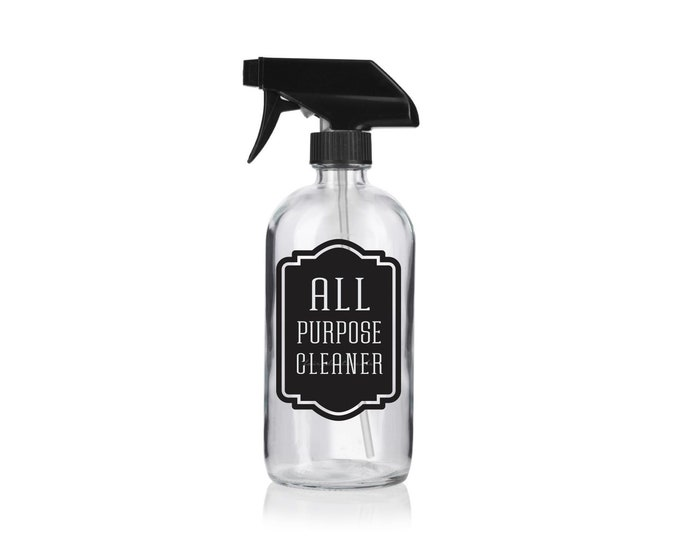 All Purpose Cleaner Label for Spray Bottle, Cleaning Supplies, Home Organization, Laundry and Bathroom decals, spray bottle vinyl decal