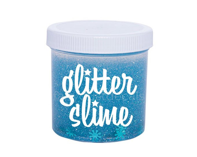 Slime Decal, glitter slime decal, slime vinyl decal for plastic containers