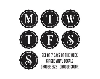 Days of the Week decal, MTWTFSS, chore schedule, home organization, dry erase calendar label, white board stickers