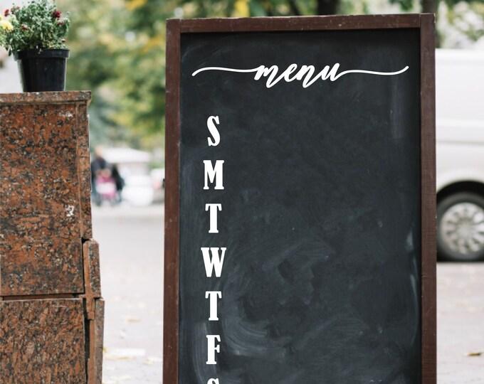 Menu Decal, Chalkboard Sign Label, Menu Vinyl Sticker, Wedding Decor, Home Kitchen, Cafe Menu Decal
