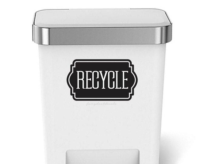 Recycle Sticker, Trash Can Label, Vinyl Decal for Recycling Bin, Recycling Sticker