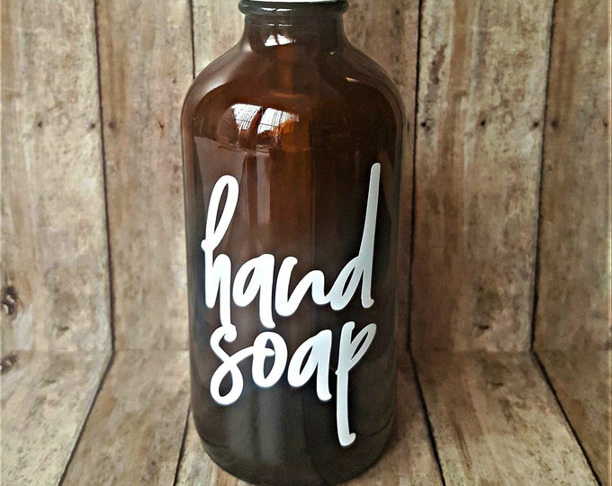 Hand Soap Dispenser Bottle, Brown Amber Apothecary Style Glass
