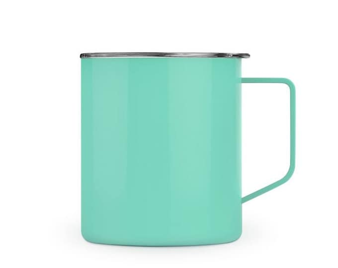 Mint Green Stainless Steel Townie Coffee Mug with Clear Lid, 14 ounce, hot or cold beverages, mint green metal coffee mug, new in box