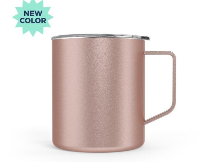 Rose Gold Stainless Steel Townie Coffee Mug with Clear Lid, 14 ounce, hot or cold beverages, rose gold metal coffee mug, new in box