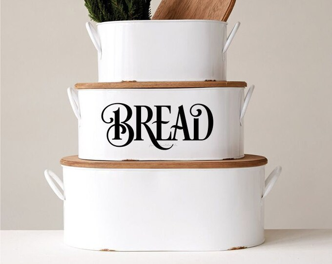 Bread Box Decal, Kitchen Canister, Kitchen Pantry Decor, Farmhouse Kitchen, Bread Box Vinyl Decal, Bread Label Decal, Bread Vinyl Sticker