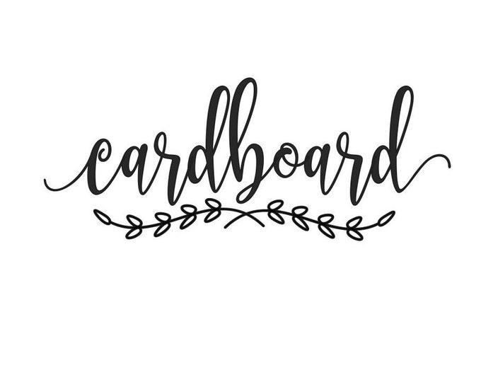 Recycle Cardboard Vinyl Decal, Recycling Bin Container, Trash Barrel Label, Cardboard Sticker