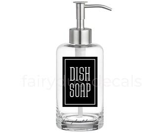 Dish Soap Label for dispenser bottle, square design vinyl decal
