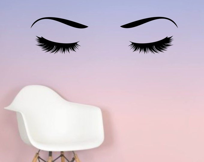 Lashes and Brows Wall Decal, Eyelash and Eyebrows Vinyl Sticker, Hair Salon Decor, Makeup Artist, laptop cover decal