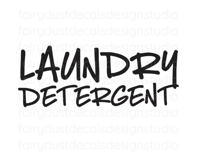 Laundry Detergent Decal, handwritten style, organized laundry room, detergent container sticker, farmhouse laundry supplies, container label
