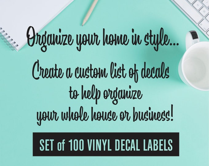Home Organization Labels, set of 100 vinyl decals, command center, laundry room, kitchen pantry labels, declutter and organize whole house