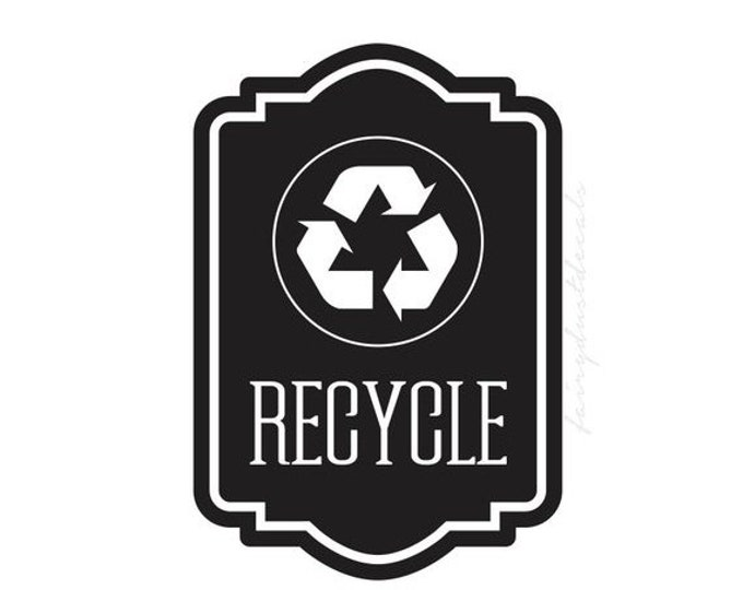 10% off sale Recycle Symbol Sticker, recycling tote vinyl decal, environmental recycle symbol trash label, go green
