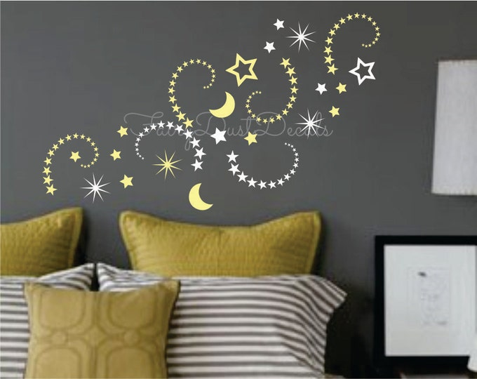 Shooting Stars and Moon vinyl wall decals, nursery room decor, moon and stars stickers