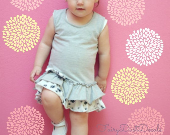 Flower Decals, Baby Girl Nursery, Flower Nursery, Vinyl Wall Decals, Playroom, Bedroom, Daisy Mum Peony Flower, Spring Flower Sticker