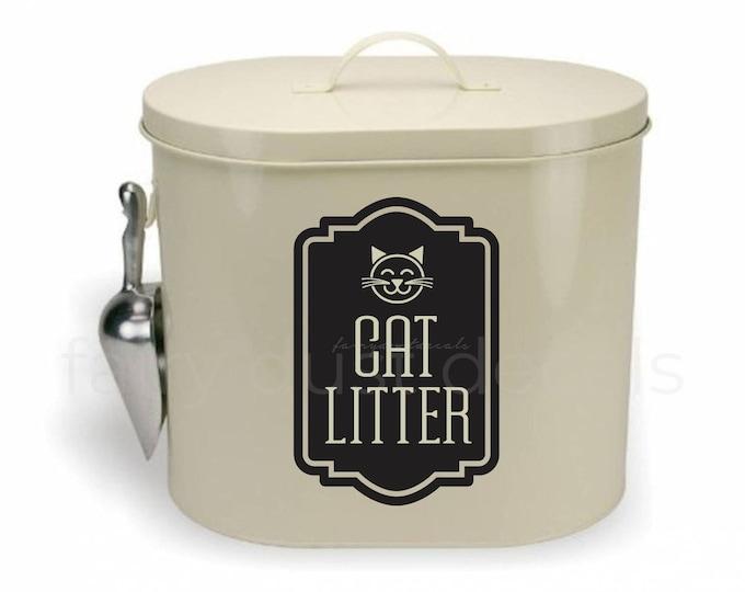 Cat Litter Decal, Label for Kitty Litter Container, Pet Storage Label, Cat Litter Vinyl Decal, Cat Lover Decor