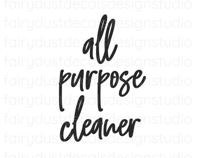 All Purpose Cleaner Decal, spray bottle label, cleaning products vinyl decal