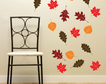 Fall Leaf decal set, teacher classroom decor, set of 20 leaf stickers, back to school, storefront window display, autumn leaves