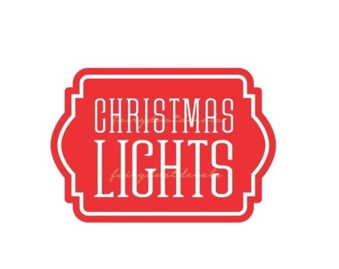 Christmas Lights Storage Decal, Christmas Lights Tote Label, Organize Holiday Decor, Vinyl Decal, Christmas Lights Sticker