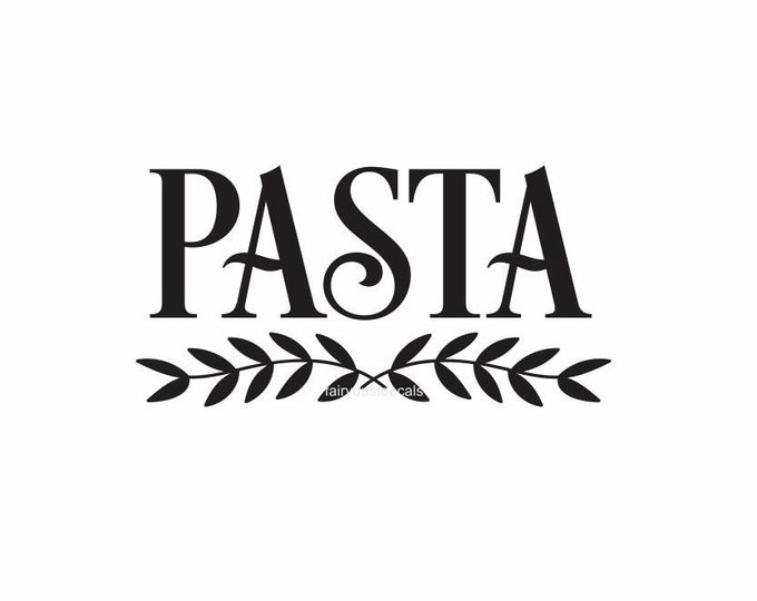 Pasta Label for kitchen canister, vinyl decal, pantry storage, home organization