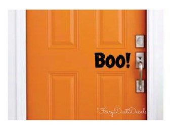 Boo door decal - Halloween decal - Halloween decoration - Boo Vinyl Lettering for front door - Trick or Treat - October 31 - Halloween decal