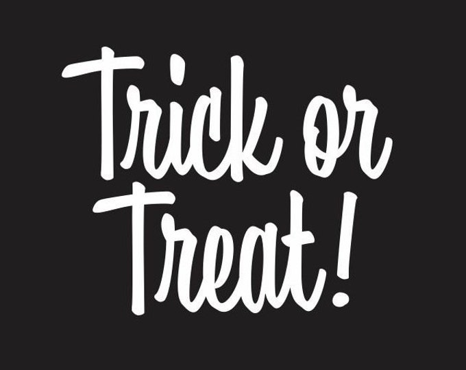 Halloween Trick or Treat Decal, candy bucket, treat or treat sign label sticker