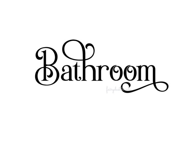 Bathroom door vinyl decal, bath sign for home and business, restroom