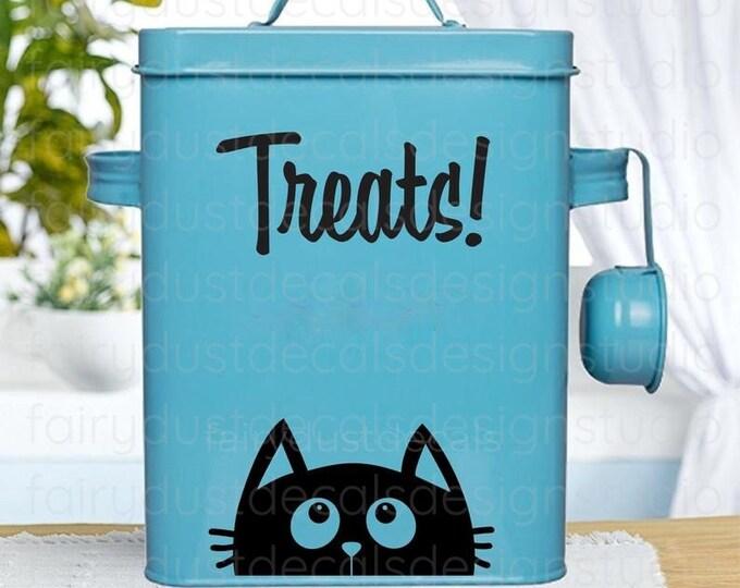 Cat Treats Container Label, cat treats vinyl sticker decal