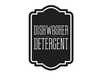 Dishwasher Detergent Label for glass canister, dishwasher soap powder vinyl decal, farmhouse kitchen decor, cleaning supply labels