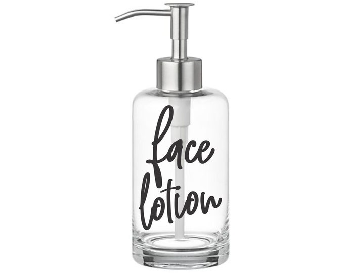 Face Lotion Label for dispenser bottle, handwritten script style letter, face lotion vinyl decal