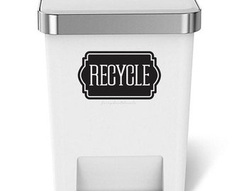 10% off sale Recycle Sticker, Trash Can Label, Vinyl Decal for Recycling Bin, Recycling Sticker