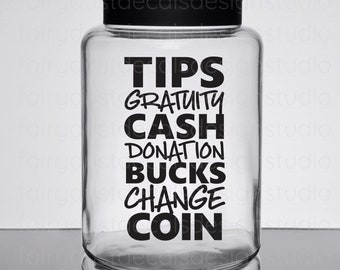 Tip Jar Decal, gratuity jar label, bartender gift, coffee shop tip jar decal, new design