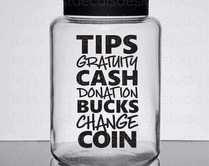 Tip Jar Decal, gratuity jar label, bartender gift, coffee shop tip jar decal, new design, free shipping