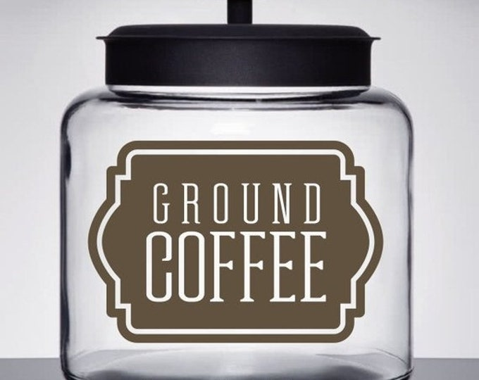 10% off sale Coffee Canister Label, Ground Coffee Vinyl Decal for kitchen container