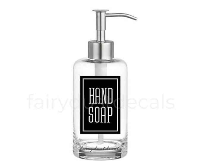 10% off sale Hand Soap Label for dispenser bottle, square design vinyl decal