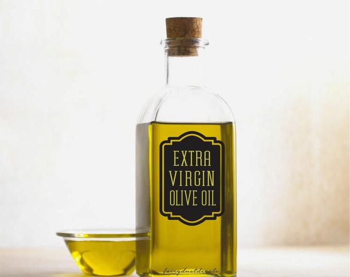 Olive Oil Bottle Label, Extra Virgin Olive Oil Vinyl Decal, dispenser glass bottle sticker
