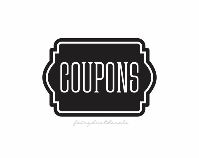 Coupon Decal, kitchen coupon binder label, Coupons vinyl decal, coupon sticker, coupon organizer label, coupons vinyl sticker, daily planner