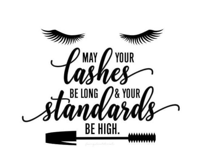 10% off sale Eyelashes Decal, May Your Lashes be long and your standards be high, eyelashes quote, laptop decal, bathroom mirror sticker