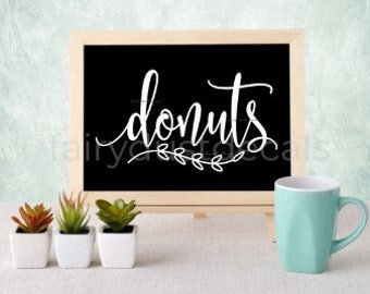 Donuts decal, doughnuts vinyl sticker, decal for donuts sign, wedding chalkboard sign decal