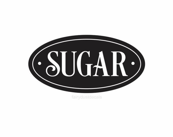 Sugar Label for Kitchen Canister, sugar jar vinyl decal, kitchen pantry organization, sugar decal, canister sticker