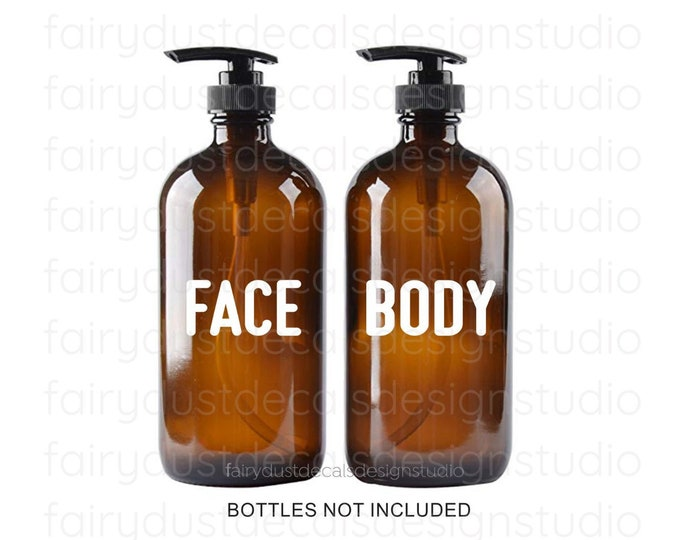 Face Body Label for glass dispenser bottles, Vinyl Decal, Apothecary Style, Modern Farmhouse Bath Decor, Salon Spa Restroom