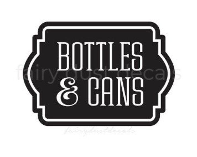 Recycling Decal for Bin, Bottles and Cans Sticker, Vinyl Decal for Recycle Tote, Trash Can Vinyl Decal Label Sticker