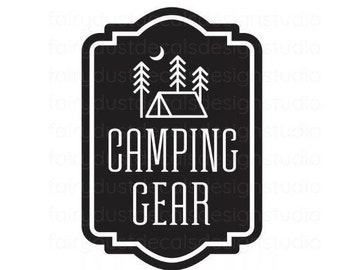 Camping Gear Decal, vinyl label sticker for storage bin, free shipping