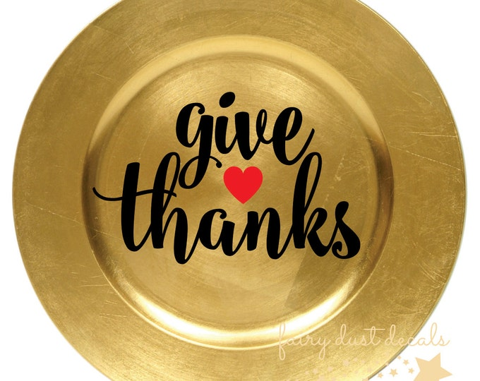 Give Thanks decal, Thanksgiving Vinyl Decal