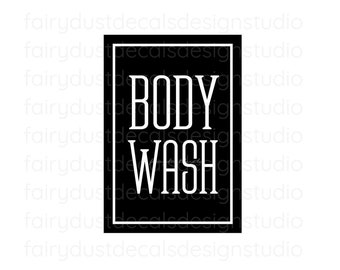Body Wash Label for dispenser bottle, square design vinyl decal