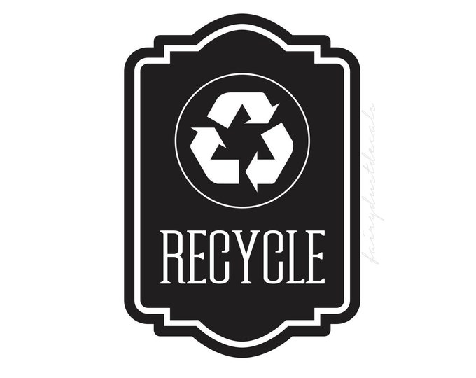 Recycle Symbol Sticker, recycling tote vinyl decal, environmental recycle symbol trash label, go green